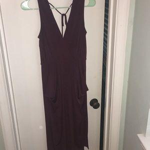 Purple stretch dress with pockets